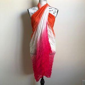 Calvin Klein Pink Orange Wrap Scarf Sarong